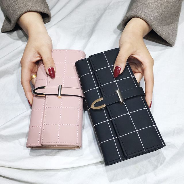 AOEO Women Wallets Long With Plaid PU Leather Fashion Hasp Coin Purse Phone Bag 10 Card Holders Female Wallet for girls ladies
