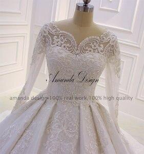 Image 3 - Amanda Design lazo para vestido de novia apliques perlas vestido de novia con manga larga