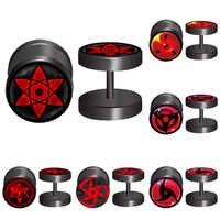 2 teile/los 1,2 MM/16G Naruto Sharingan Augen Logo Gefälschte Ohr Stecker Und Flesh Tunnel Piercing Schmuck 2401
