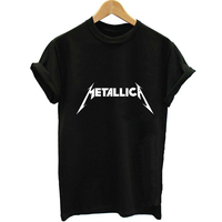 Unisex Loose Style Metallica Lettering 2016 Summer Women Letter Print T Shirt Swag Harajuku Vogue Female