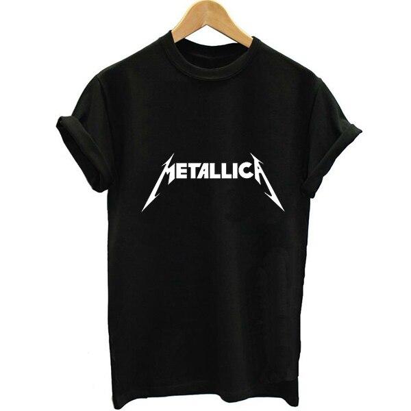 Unisex Loose Style Metallica Lettering  2016 Summer Women Letter Print T-shirt Swag Harajuku Vogue Female Printed Tshirt