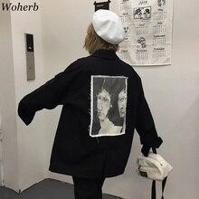 Woherb 2019 ฤดูใบไม้ร่วงใหม่เกาหลี Retro Harajuku เสื้อผู้หญิงสีดำเสื้อ Aesthetic พิมพ์ Vintage Casual แจ็คเก็ต Femme 22908