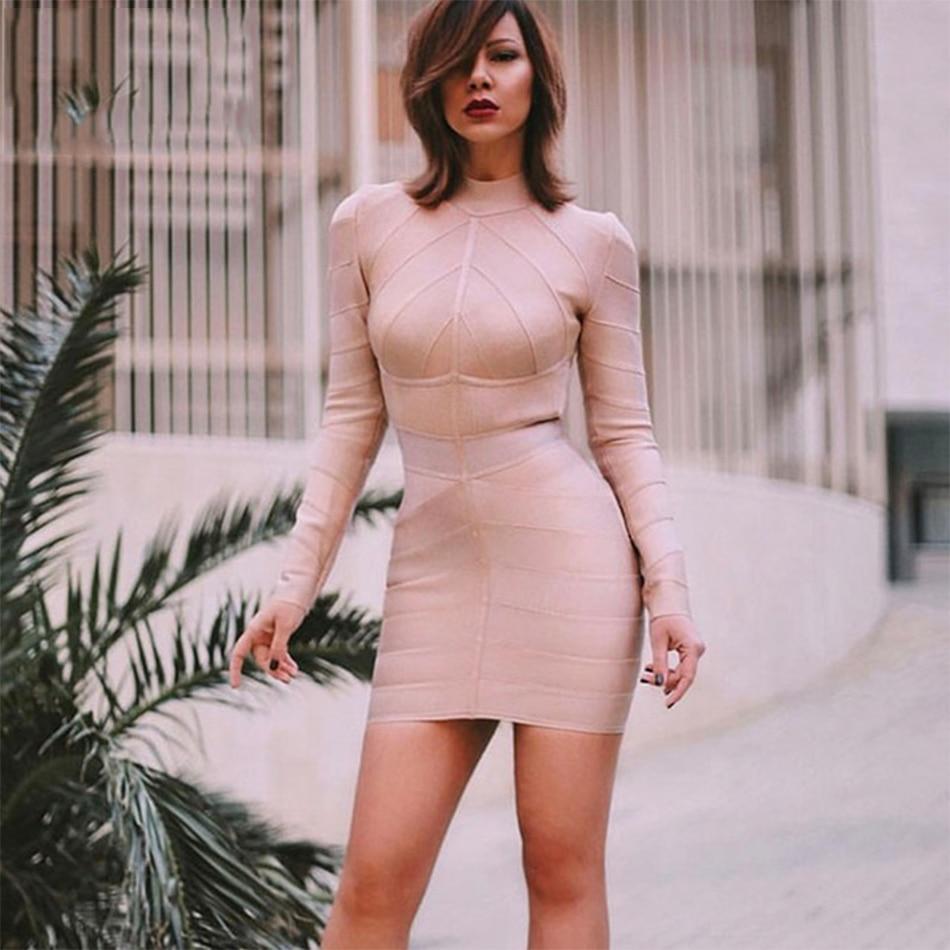 Newest Celebrity Party Bodycon Bandage Dress Women Apricot Long Sleeve Turtleneck Sexy Night Out Dress Women Vestidos Wholesale