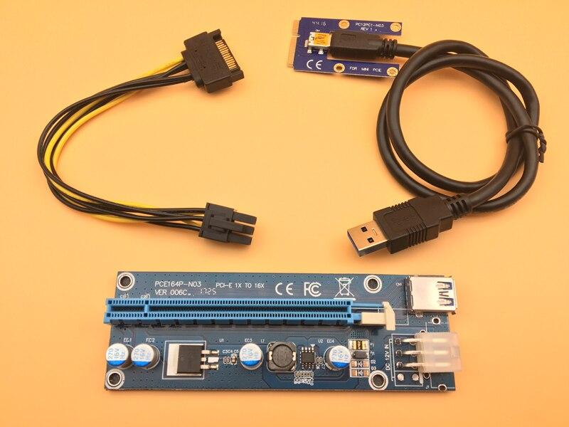 Nuevo mini pci-e PCI Express 1x a 16x Riser tarjeta USB3.0 para tarjeta gráfica PCIe ranura 6Pin alimentación para bitcoin BTC minero minería