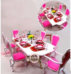 Free Delivery,New arrival Christmas/Birthday Reward Kids Play Set Grand Dinning Room Equipment For Barbie Doll