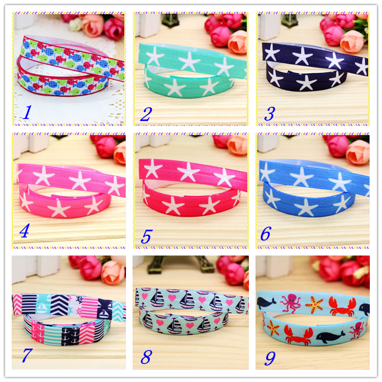 Ribbons 5/8 Free Shipping Fold Elastic Foe Navy Anchor Starfish Printed Headband Headwear Hairband Diy Decoration Wholesale Oem S71