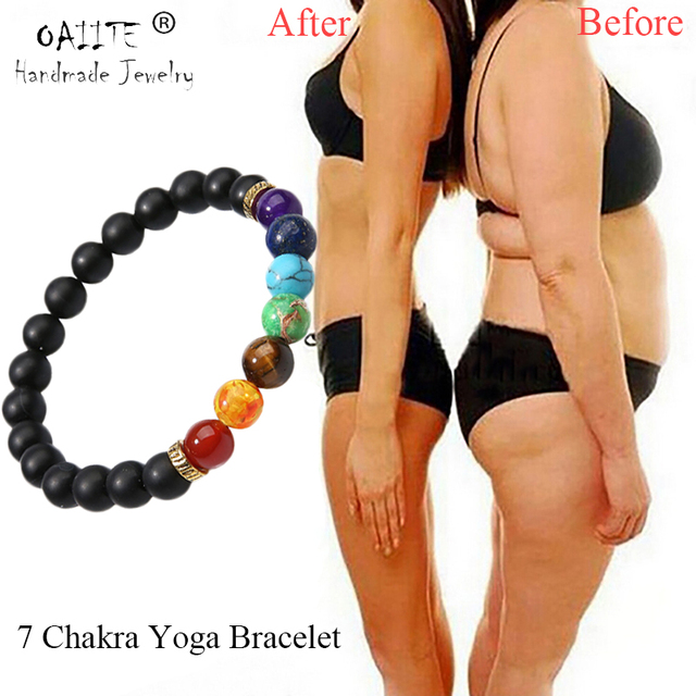 OAIITE 7 Chakra โยคะสร้อยข้อมือหัวใจ Therapy สร้อยข้อมือผู้หญิงผู้ชายลูกปัดหินธรรมชาติเครื่องประดับ Chakra Prayer BALANCE สร้อยข้อมือ