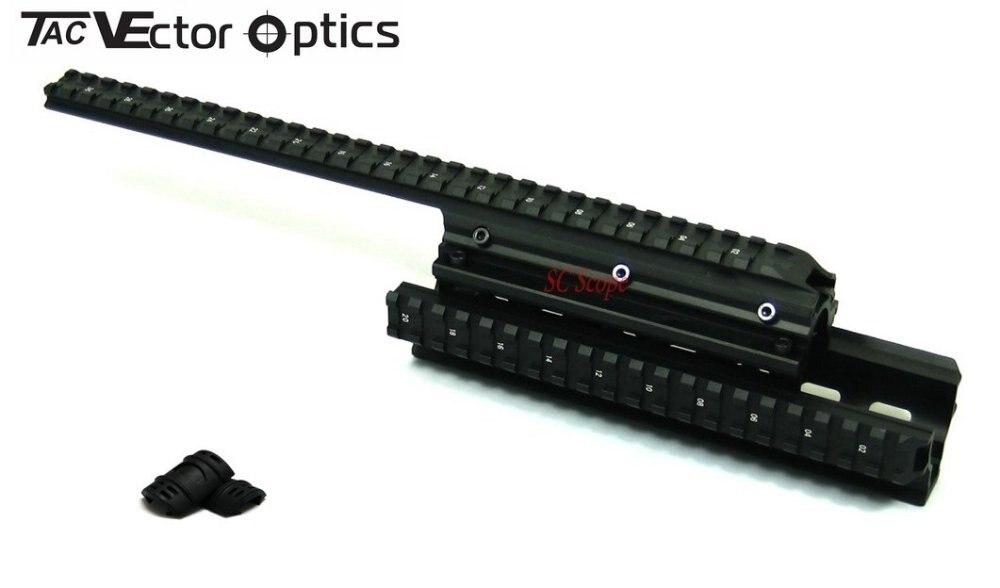 Livraison gratuite Saiga 12 tactique Long Handguard Quad Rail système avec gratuit noir caoutchouc gardes x 10 paires