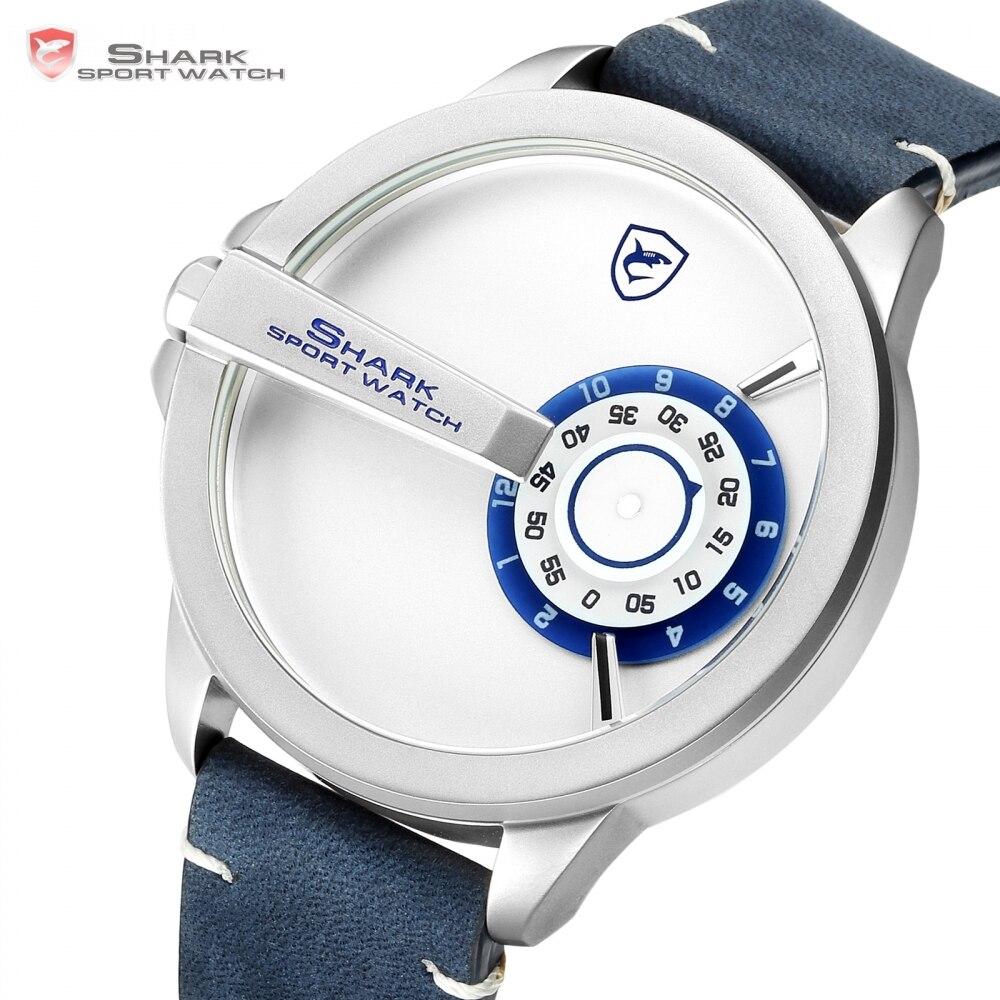 Nouveau requin Sport montre tourne-disque cadran Design spécial Quartz fou cheval en cuir bande étanche hommes poignet montres créatives/SH561 - 3