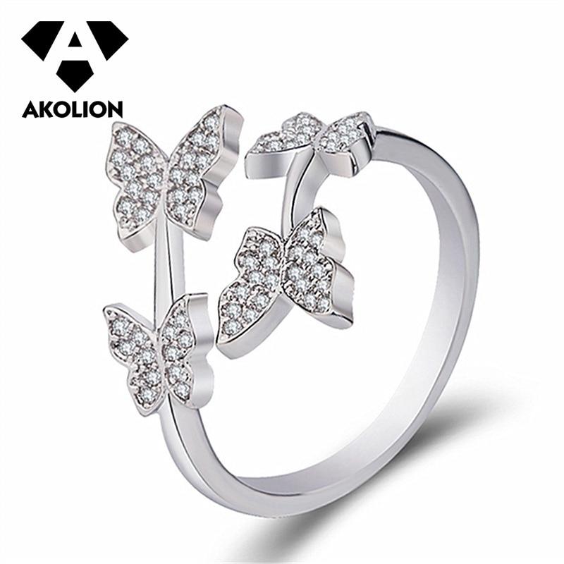 Akolion Japanische Und Koreanische Frische Stil, Mode Schmetterling Ring Exquisite Romantische Trendy Schmuck Ring Geschenk Für Frauen Btjz-11