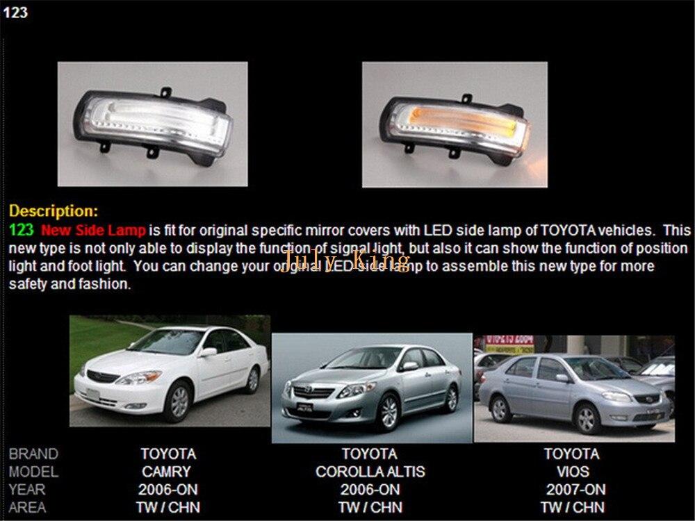 July King светодиодный чехол для зеркала заднего вида для Toyota Camry Corolla Axio Auris Vios; Белый DRL+ боковые поворотники+ наземная лампа