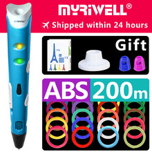 myriwell 3d pen pens,Kids birthday present  Christmas 1.75mm ABS/PLA Filament, model,3d printer pen-3d magic