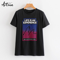 Artsnie letter print black women t shirt summer 2019 o neck short sleeve knitted tops female tee streetwear casual girls t shirt