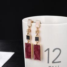 Fashion Square Design Drop Earrings Red White Black Color Long Geometric Earrings Women Wedding Birthday Brincos-in Drop Earrings from Jewelry & Accessories on AliExpress