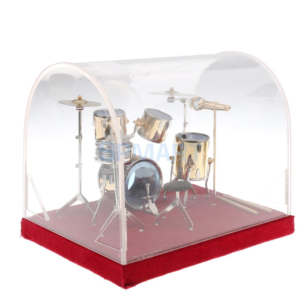 1 12 Dollhouse Miniature Copper Drum Set Model with Display Box Musical Instrument Ornaments Action Figures