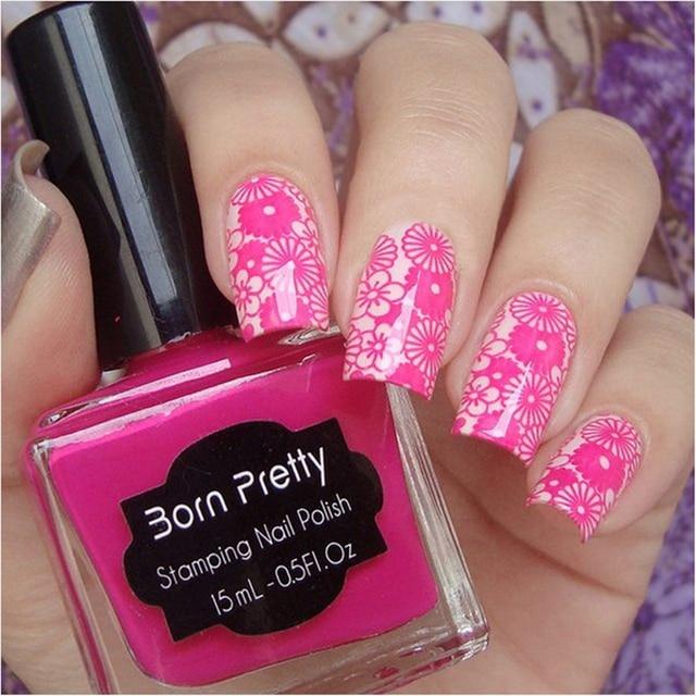 1 Pc 15ml Born Pretty Nail Art Stamping Polish Rose Red Nail Polish ...