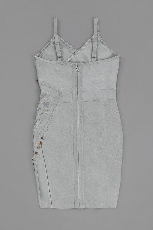 Nouveau Sexy femmes robe de mode solide gris kaki noir couleur placging perles Slim Bandage robe soirée robe de soirée L-132 - 3