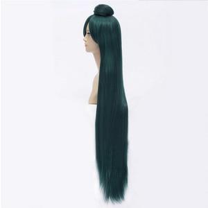 Image 3 - HAIRJOY Dark Green Sailor Moon Sailor Pluto Meiou Setsuna Cosplay Wig with Detachable Bun 100cm Long Straight Synthetic Hair