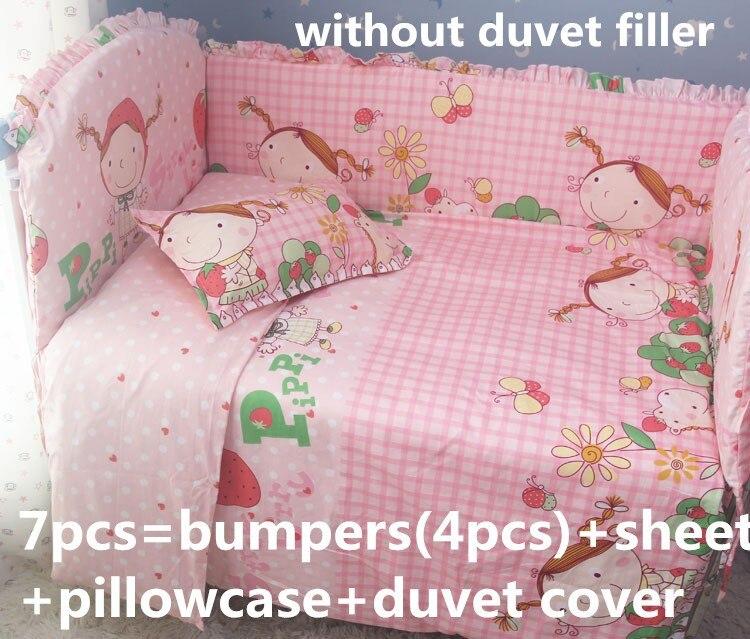 Discount! 6/7pcs Baby Bedding Set 100% Cotton Bedding Comfortable Cot Bedding Set ,duvet cover,120*60/120*70cm