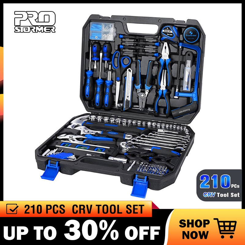 Prostormer 210 Pcs Ratchet Wrench Hand Tools Set Combination Socket Adapter Kit Spanner Set General Household Wrench Set Tool(China)