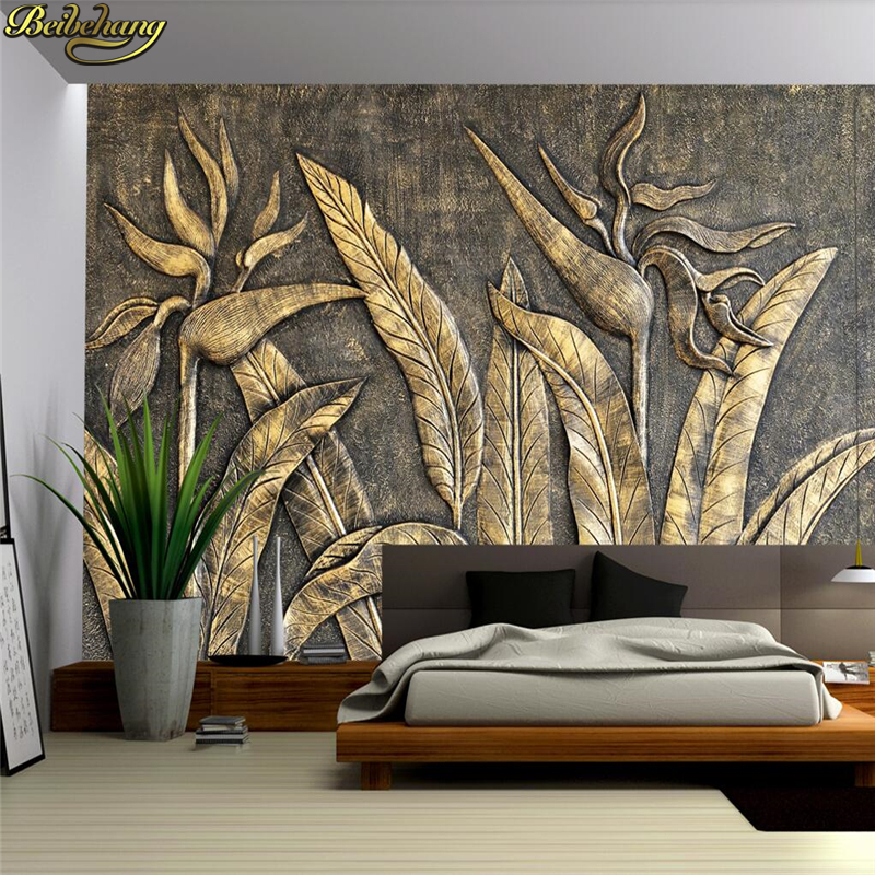 Beibehang Custom Photo Wallpaper Mural Golden Bird Sculpture Wall Background Wall Papel De Parede 3d Wall Papers Home Decor