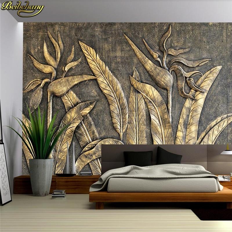 Beibehang Custom Photo Wallpaper Mural Golden Bird Sculpture Wall Background Wall Papel De Parede 3d Wall Papers Home Decor