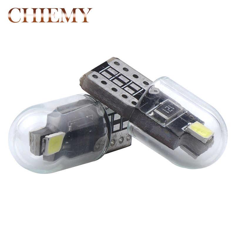2X T10 LED W5W Lampu Mobil Putih 194 Kaca Plat Instrumen Pintu Parkir Lampu 12V Ekor Indikator Kendaraan sinyal Lampu 6000K