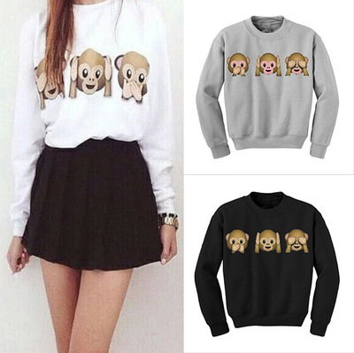 Autumn Women t shirt Harajuku 3D Emoji Printed Female Monkey Long Sleeve Tops Women Clothing Fleece  Tee Plus Size