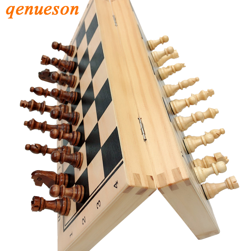 Hot Top Quality Wooden Folding Magnetic Chess Set Solid Wood Chessboard Magnetic Pieces Entertainment Board Games Children Gifts все цены
