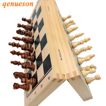 Hot Top Quality Wooden Folding Magnetic Chess Set Solid Wood Chessboard Pieces Entertainment Board Games Children Gifts