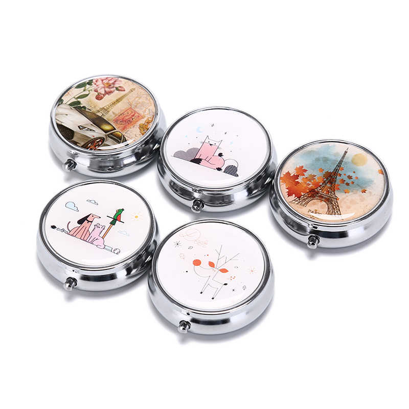 1PC Tragbare Metall Runde Blume Drucken Organizer Cute Fach Pille Fall Divid Lagerung Tablet Container Medizin Box