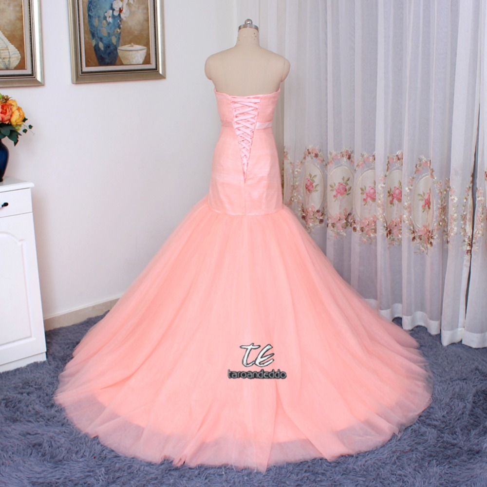 Cheap Price US4 Size Only ONE PIECE Ruched Tulle Pink Mermaid Wedding Dress  Lace Up Marry Dresses Bridal Dresses-in Wedding Dresses from Weddings    Events ... c045fa1ff64a