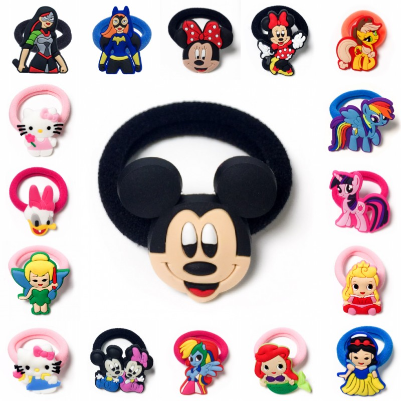1PCS Mickey Minnie Hairbands Kids Scrunchy Hair Band Elastic Hair Accessories Girl's Hair Rope Kid Gift Party Favor Kid Headwear