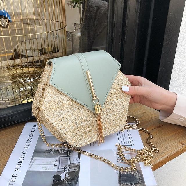 Hexagon Straw + Leather Crossbody Bags