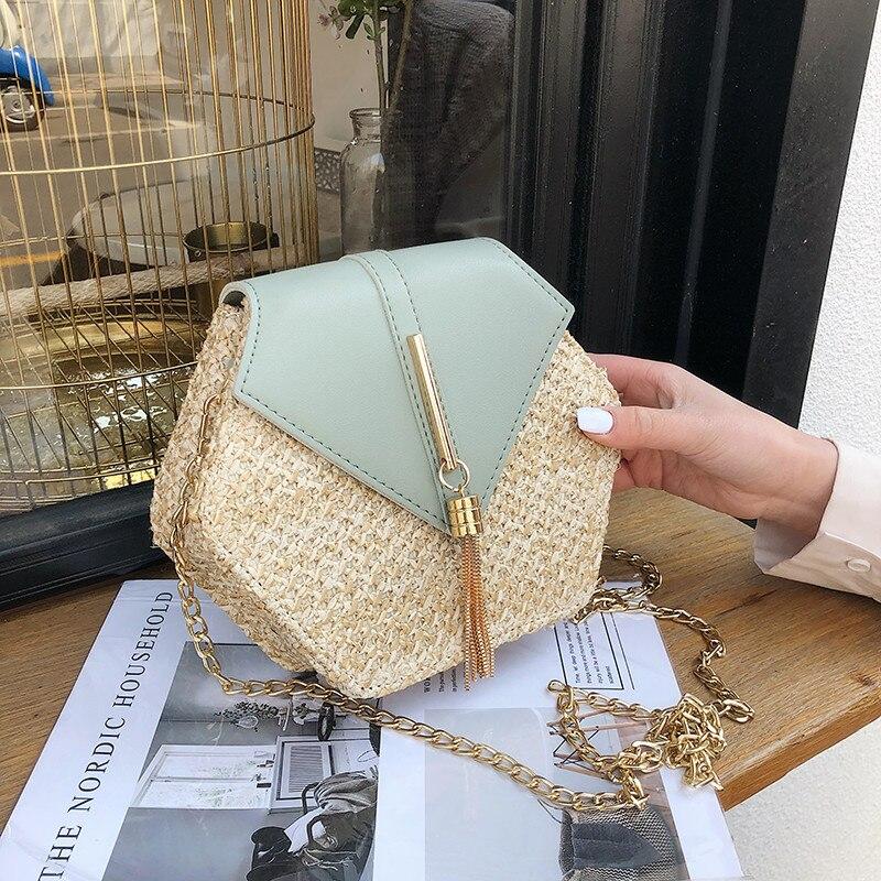 Hexágono de paja de estilo Mulit + bolso de cuero de mujer de verano de ratán bolsa tejida a mano de playa círculo bohemio bolso de hombro nueva moda