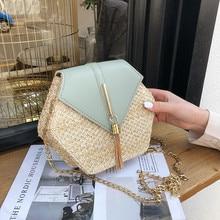 Hexagon Mulit Style Straw+leather Handbag Women Summer Rattan Bag Handmade Woven