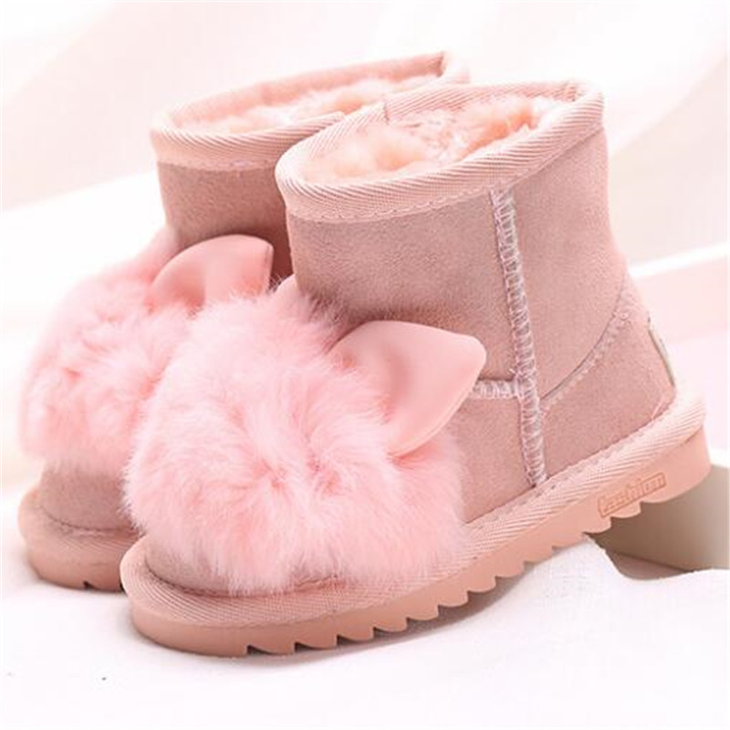 Princess girls rabbit shoes snow boots for girls winter shoes with natural fur kids genuine leather boots ankle boots for girls