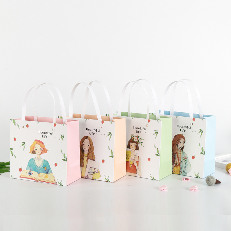 1pc pink color sweet candy girl Kitty style Children's Day paper gift bag Creative shopping bag Holiday supplies Customizable
