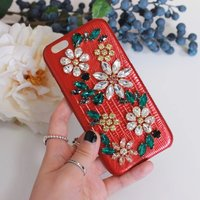 Fashion Bling Crystal Diamond Luxury Genuine Leather Phone Cover Coque For IPhone 6s Case 6 7