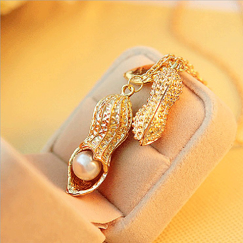 2017 New Hot Fashion Fine Jewelry Gold Color Simulated Pearl Long Peanut Necklace & Pendants For Women Nc303