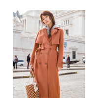 INMAN 2019 Spring Autumn England Retro Style Turn Down Collar Show Waist With Belt Women Long Trench Coat