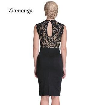 Ziamonga Autumn Lace Dress Women Vintage Elegant Crochet lace Midi Party Dresses Black Red Beige Sheath Bodycon Pencil Dress 1