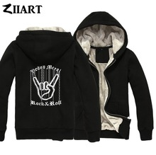Hand Gesture Chain Heavy Metal Corna Devil's Horns Sign Rock N Roll Love Boy Man Male Full Zip Winter Plus Velvet Parkas ZIIART