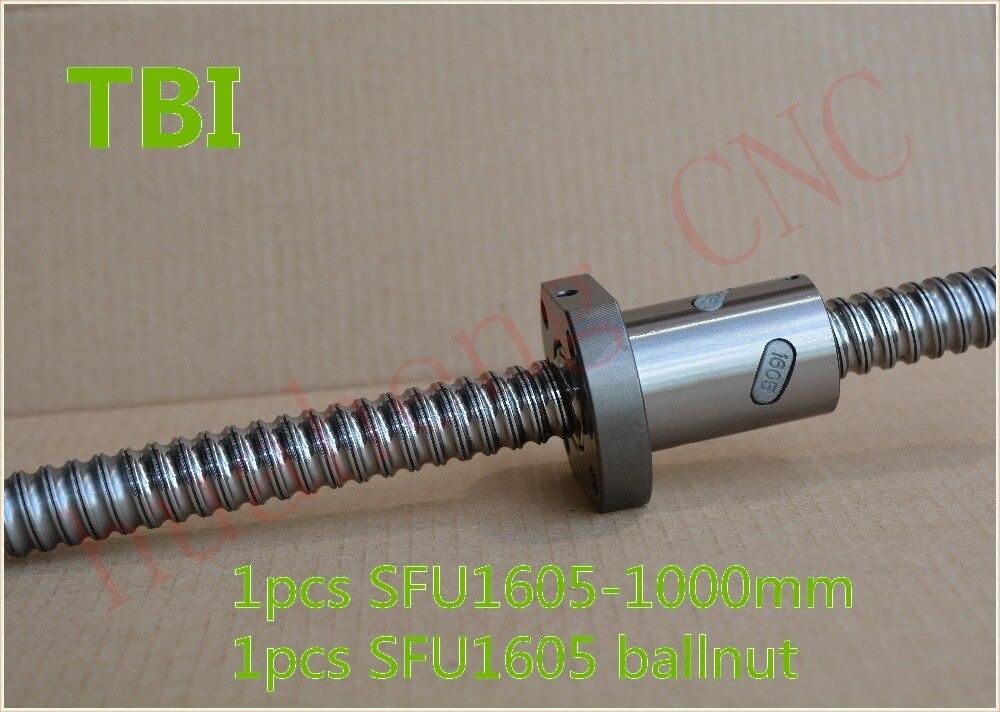 TBI ball screw 16mm RM1605 SFU1605 ball screw 1000mm with 1605 ball nut CNC DIY Carving machine 1pcs