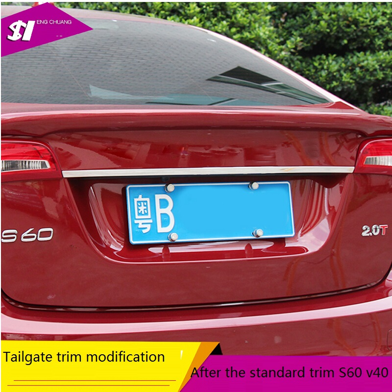 car-styling free delivery Suitable for volvo accessories fIt for 2012 2013 2014 2015 2016 volvo s60 v40  tailgate trim 2017 new inflatable car bed for back seat auto suitable for most of car accessories car styling free shipping