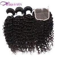 Miss Cara 4 Pecs Lot Malaysian Deep Wave Human Hair 3 Bundles With Closure Natural Color
