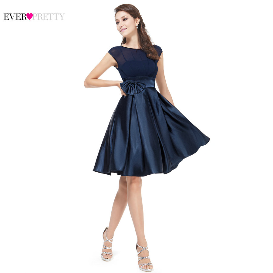 Ever Pretty Free Shipping 06113 Unique Red Bowtie Round Neck Ruffles Satin Women Cocktail Dress For