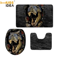 HUGSIDEA 3D Dinosaur Toilet Seat Covers 3 Piece Set Soft Doughnut Cookies Print Toilet Lid Warmer Mat for Bathroom and Toilet