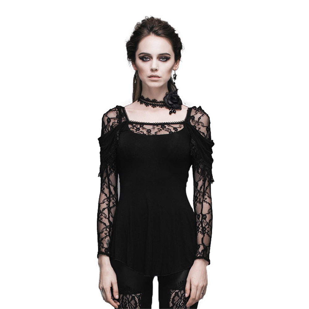The new steampunk gothic flocking lace splicing female T shirt show thin hollow out long sleeves
