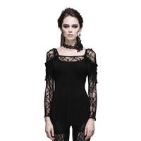 O novo steampunk gótico reunindo lace emenda T-shirt do sexo feminino mostrar fina oco para fora t-shirt de mangas compridas mulheres sexy preto